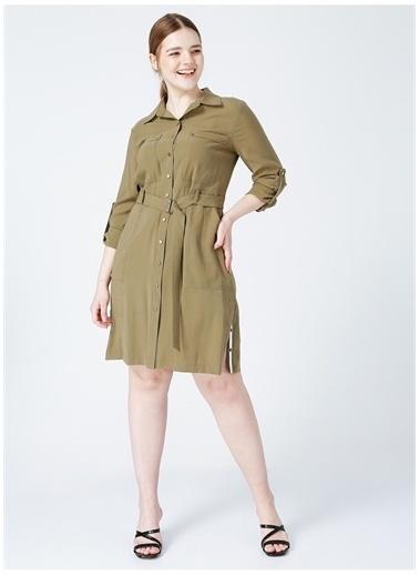 Ekol Ekol Kadın Kuşaklı Gömlek Yaka Haki Elbise Haki